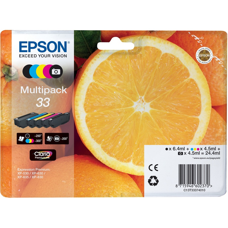 Epson Claria 33 Ink Cartridge - Yellow, Cyan, Magenta, Black, Photo Black - Inkjet - 5 / Blister Pack
