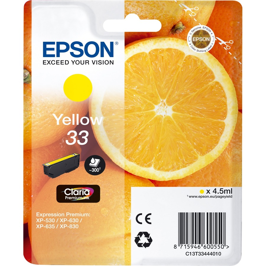 Epson Claria 33 Ink Cartridge - Yellow - Inkjet - 300 Page - 1 / Blister Pack - OEM