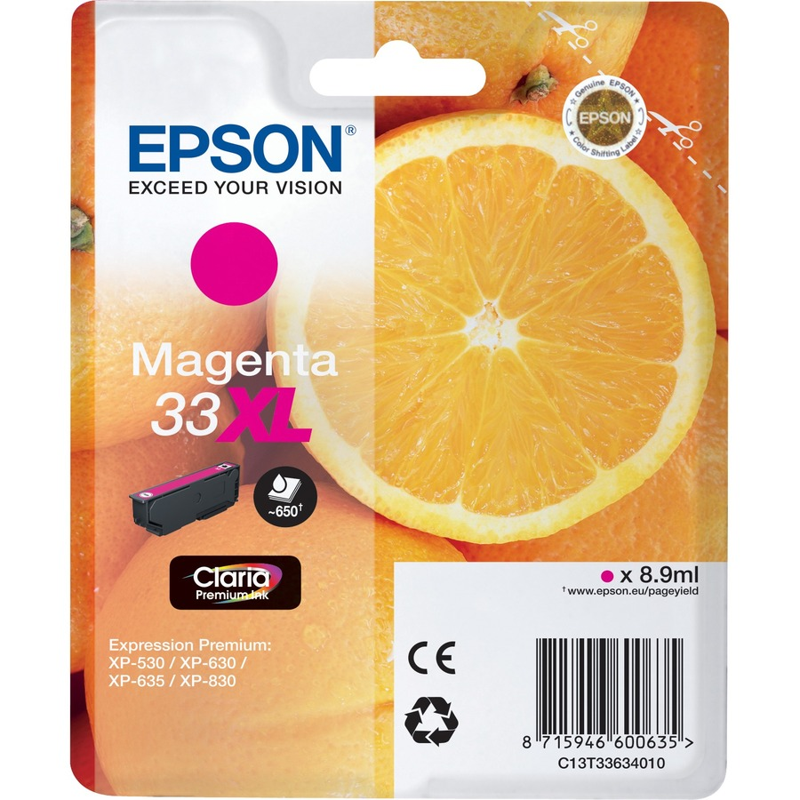 Epson Claria 33XL Ink Cartridge - Magenta - Inkjet - High Yield - 650 Page - 1 / Blister Pack
