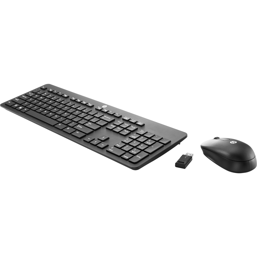 HP Slim Keyboard And Mouse - USB Wireless RF - English UK - USB Wireless RF - Scroll Wheel - Symmetrical - AAA - Compatible with Computer, Notebook