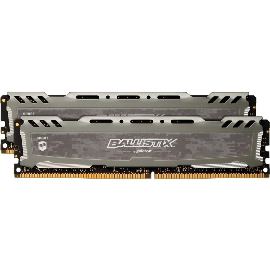 Crucial Ballistix Sport LT RAM Module - 16 GB 2 x 8 GB - DDR4 SDRAM - 2666 MHz DDR4-2666/PC4-21300 - 1.20 V - Non-ECC - Unbuffered - 288-pin - DIMM