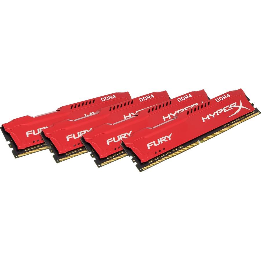 Kingston HyperX Fury RAM Module - 64 GB 4 x 16 GB - DDR4 SDRAM - 2133 MHz DDR4-2133/PC4-17000 - 1.20 V - Non-ECC - Unbuffered - CL14 - 288-pin - DIMM