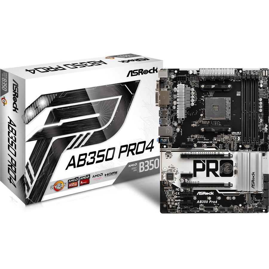 ASROCK AB350 Pro4 Desktop Motherboard - AMD Chipset - Socket AM4 - ATX - 1 x Processor Support