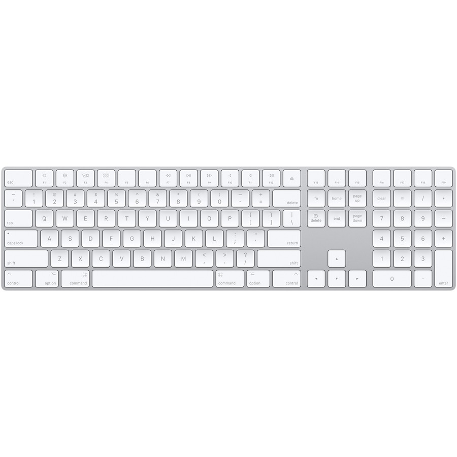 Apple Magic Scissors Keyboard - Wireless Connectivity - Bluetooth - Silver, White - English UK - Compatible with Computer Mac, iOS - QWERTY Keys Layout