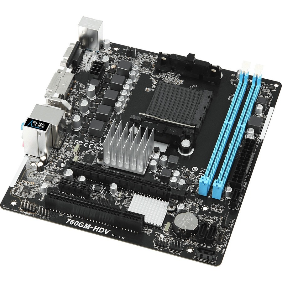 ASROCK 760GM-HDV Desktop Motherboard - AMD Chipset - Socket AM3+ - Micro ATX