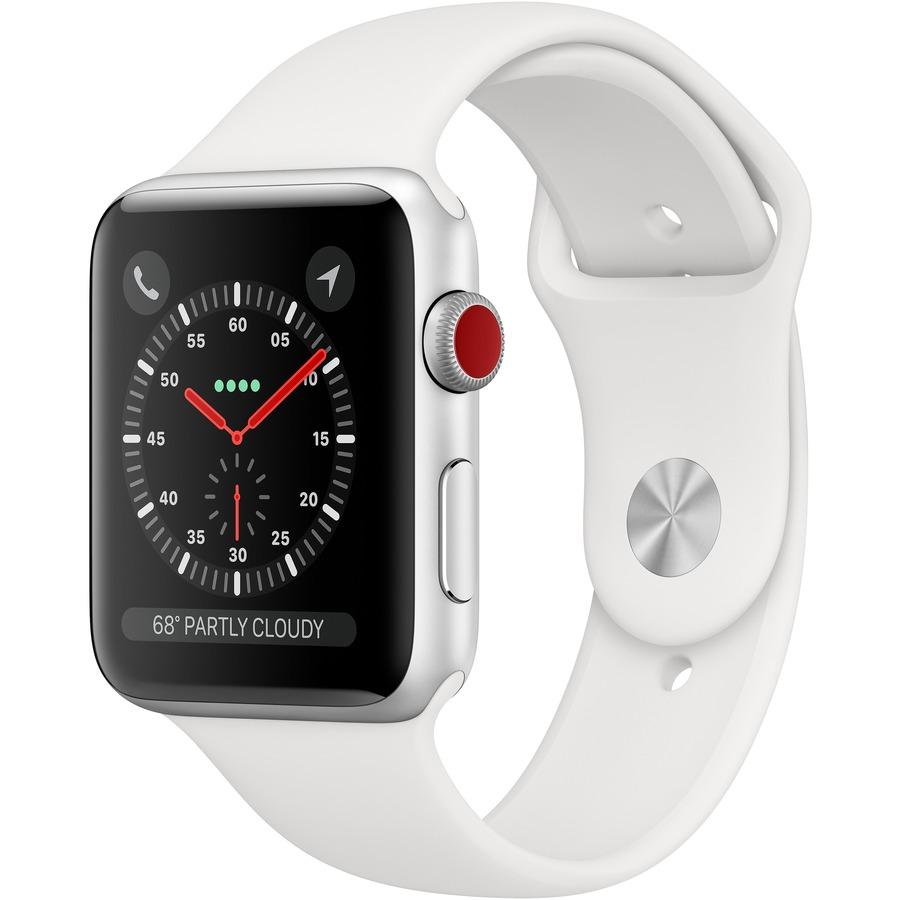 APPLE Watch Series 3 Smart Watch - Wrist Wearable - Silver Aluminum Case - White Band