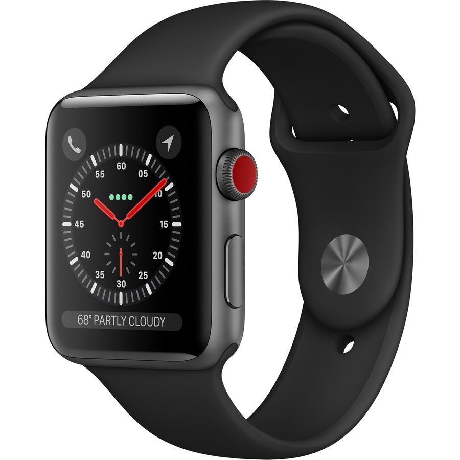 APPLE Watch Series 3 Smart Watch - Wrist Wearable - Space Gray Aluminum Case - Black Band