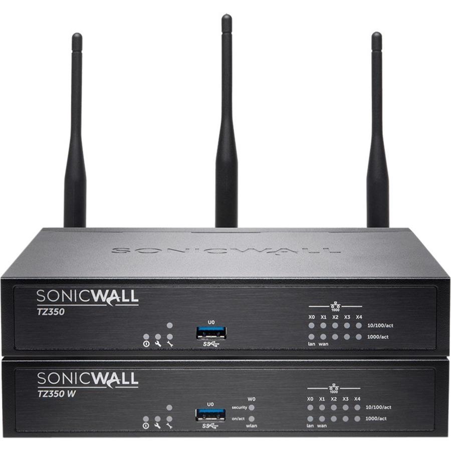 SonicWall TZ350W Network Security/Firewall Appliance - 5 Port - 1000Base-T  Gigabit Ethernet - Wireless LAN IEEE 802 11ac - AES (192-bit), AES