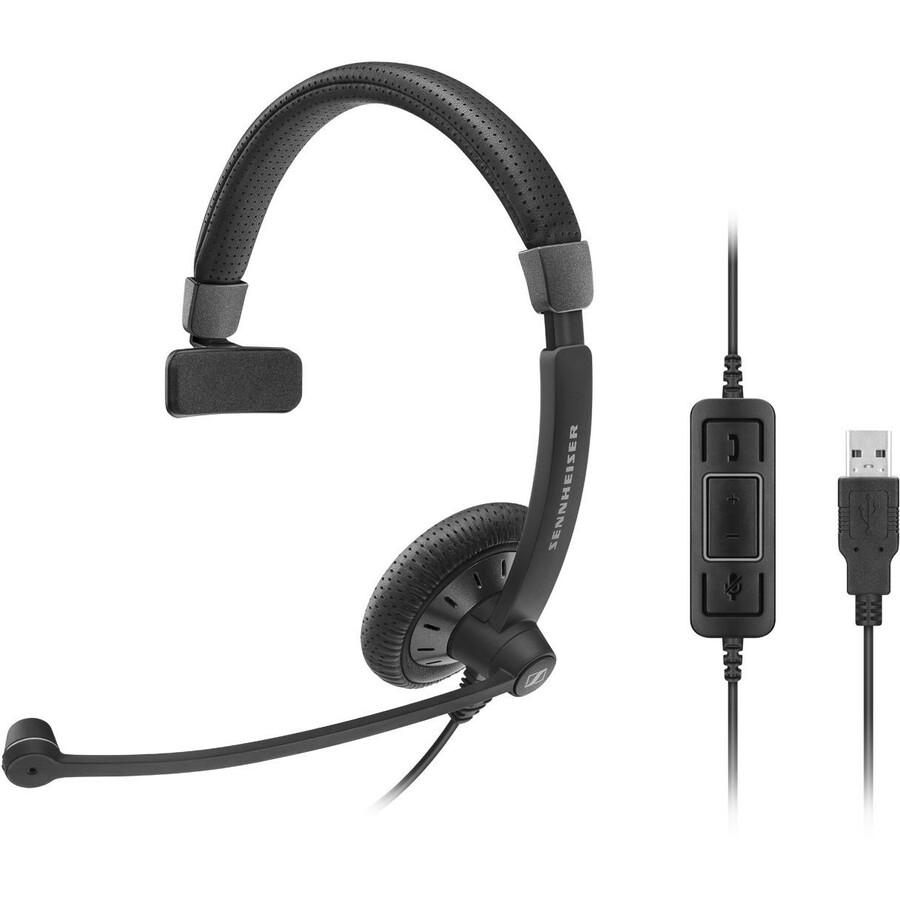 SENNHEISER SC 130 USB Wired Over-the-head Mono Headset - Black, White - Supra-aural