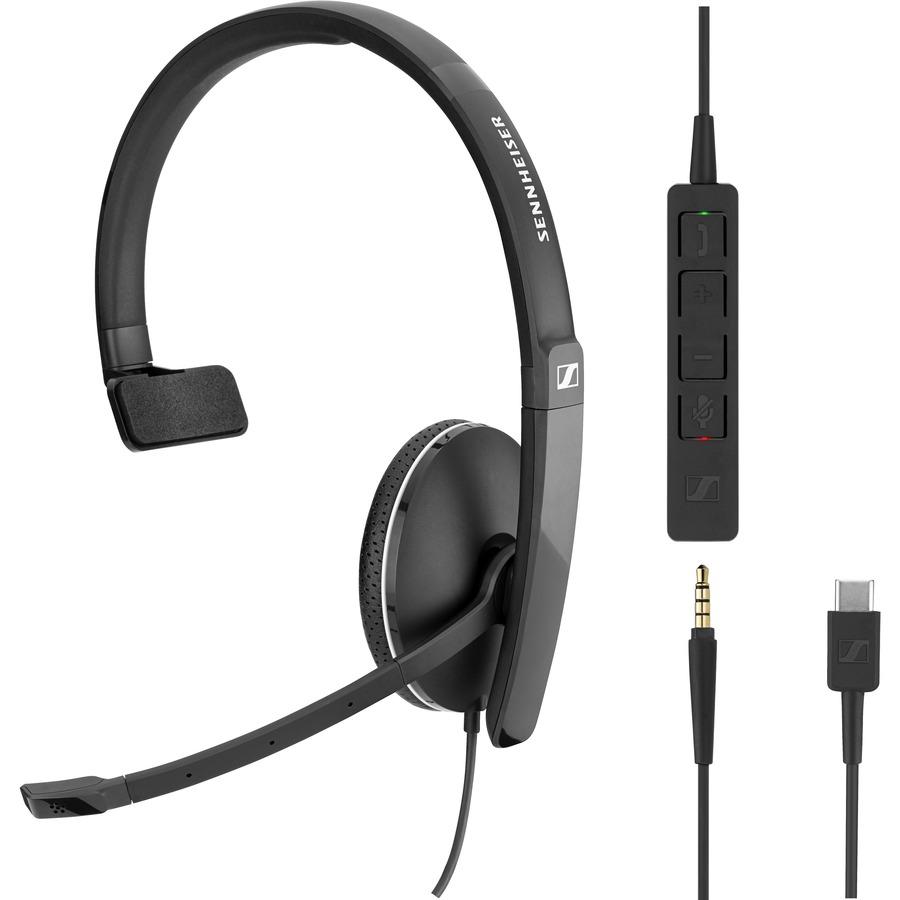 SENNHEISER SC 135 USB-C Wired Over-the-head Mono Headset - Black, White - Supra-aural