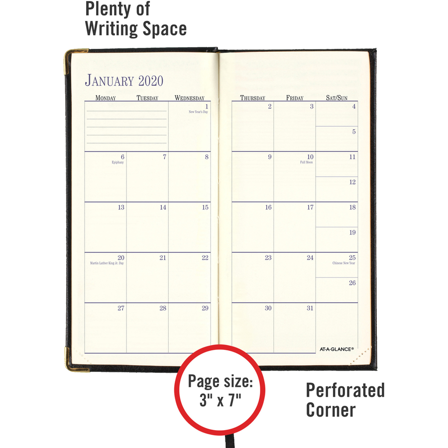 at a glance leather fine diary weekly monthly planner business