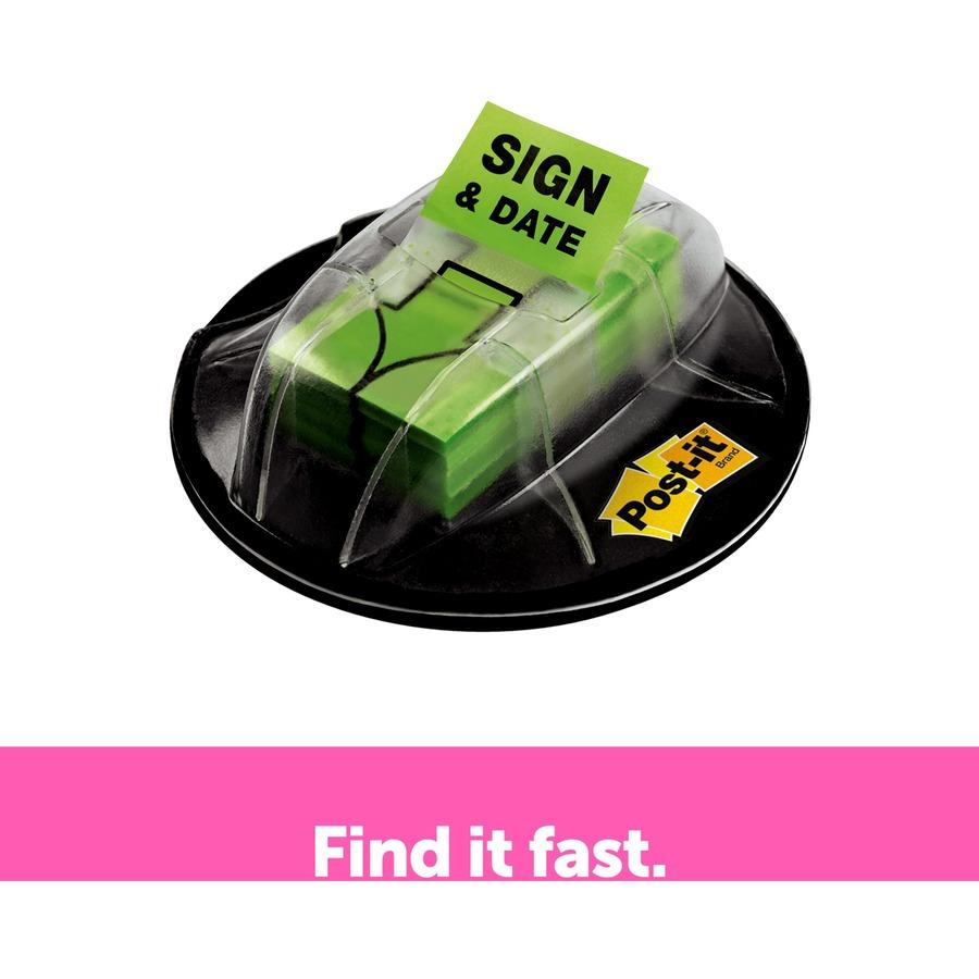 """MMM680HVSD Post-it® 1""""W Sign/Date Flags In Desk Grip"""