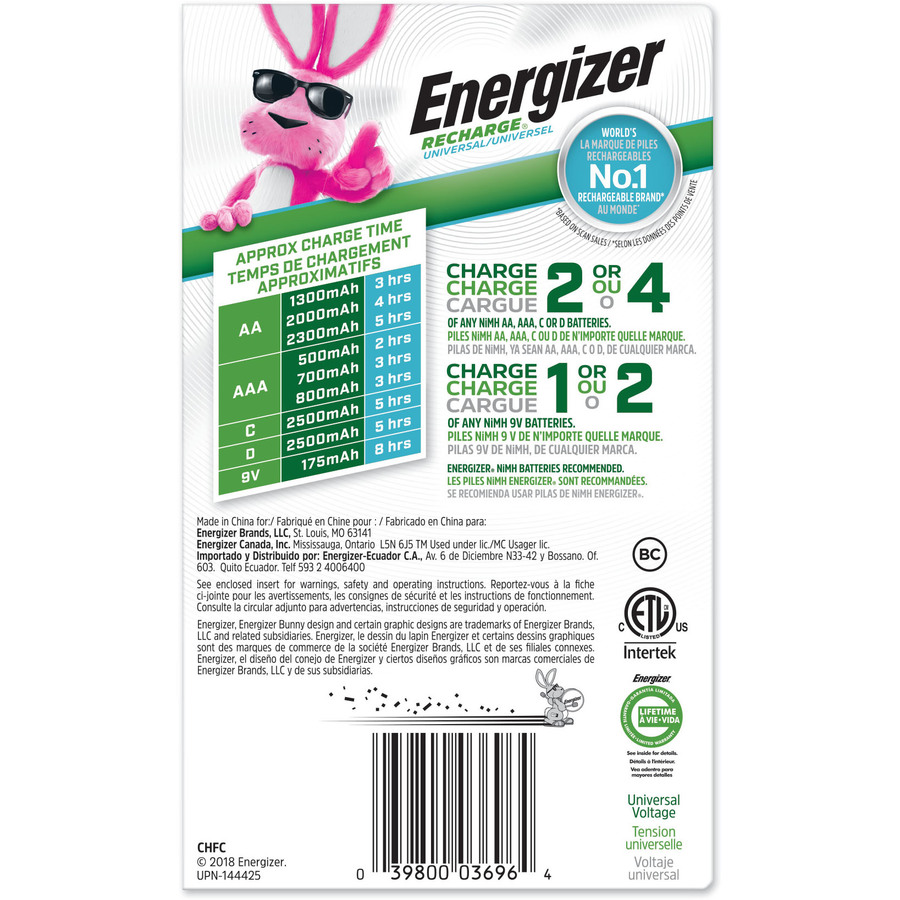 Energizer Recharge Universal Charger for NiMH Rechargeable