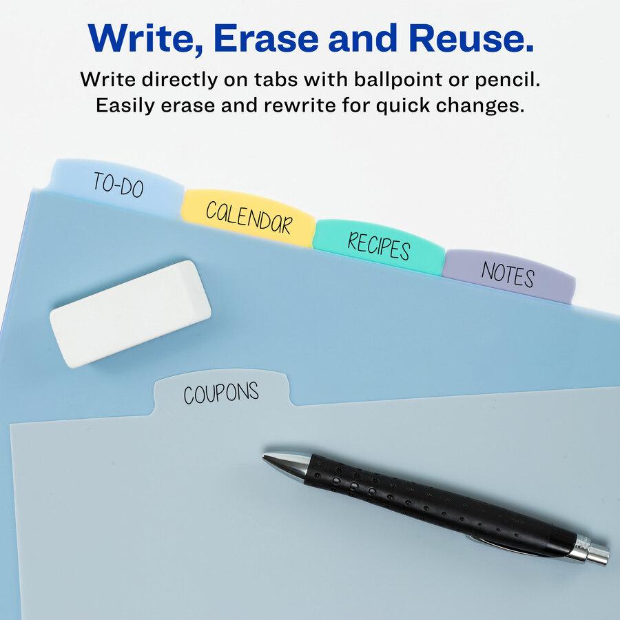 avery 5 12 x 8 12 mini write erase plastic dividers