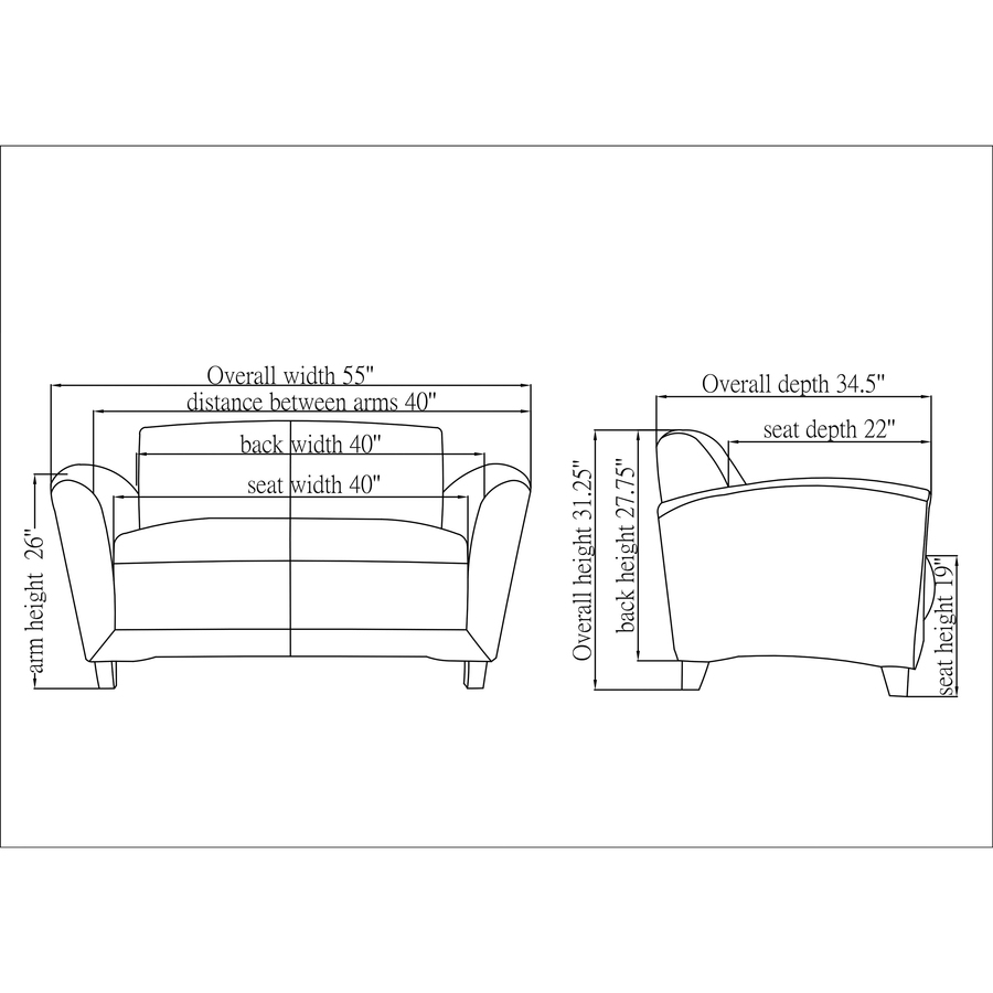 Remarkable Lorell Reception Seating Collection Leather Loveseat 55 X Onthecornerstone Fun Painted Chair Ideas Images Onthecornerstoneorg