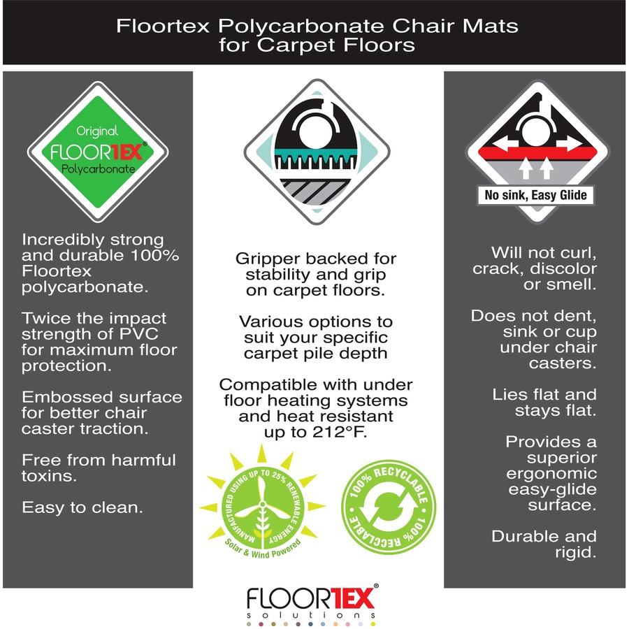 cleartex deep pile polycarbonate chairmat direct office buys