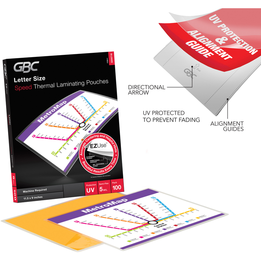 Swingline® GBC® EZUse™ Thermal Laminating Pouches - Sheet Size Supported:  Letter - Laminating Pouch/Sheet Size: 8 50