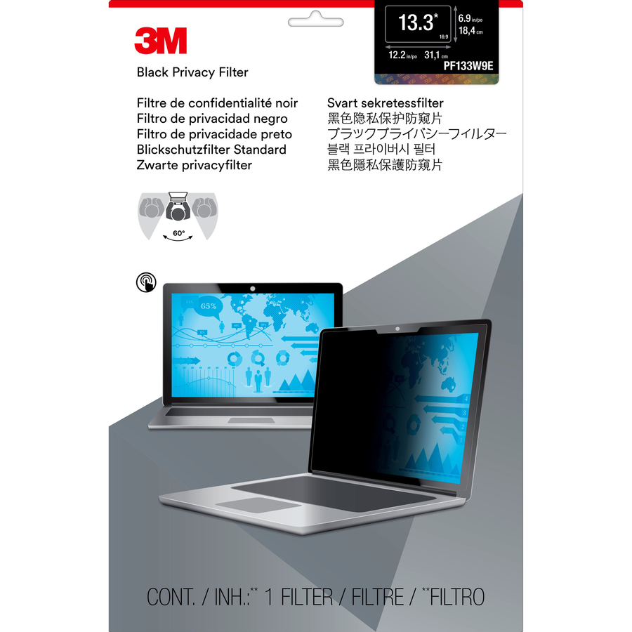 3M Black Privacy Screen Filter - For 33.8 cm 13.3inch Widescreen Notebook