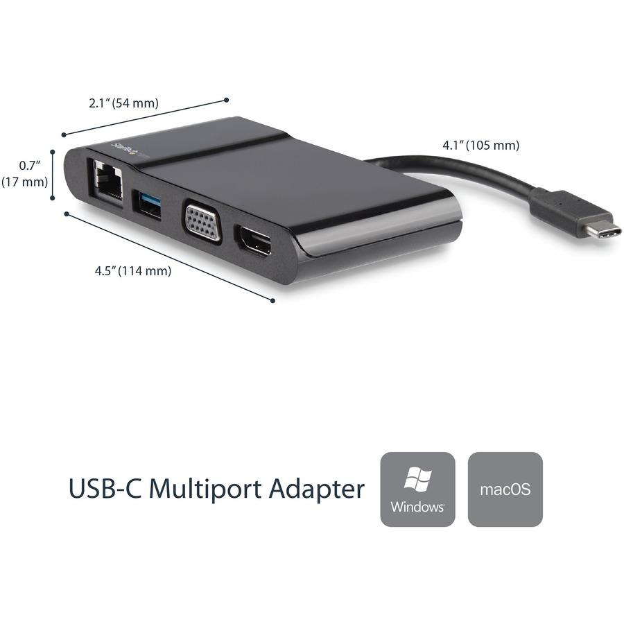 StarTech USB C Multiport Adapter - USB-C to 4K HDMI / USB 3.0 / VGA / GbE - USB C Hub