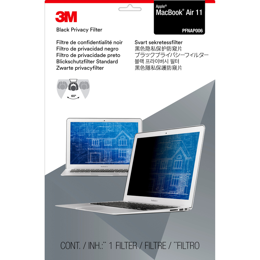 3M Black Privacy Screen Filter - For 29.5 cm 11.6And#34; Widescreen MacBook Air