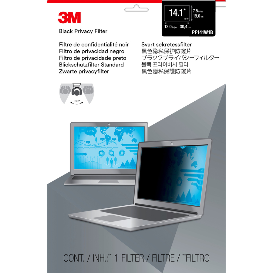 3M Black Privacy Screen Filter - For 35.8 cm 14.1inch Widescreen Notebook
