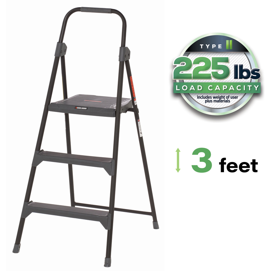 Incredible Louisville 3 Steel Type Ii Step Stool 3 Step 225 Lb Load Capacity36 Gray Pabps2019 Chair Design Images Pabps2019Com