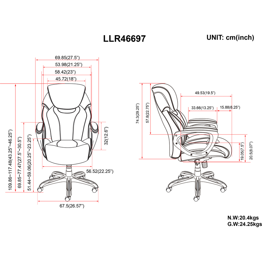 Llr46697 Lorell Wellness By Design Air Tech Executive Chair