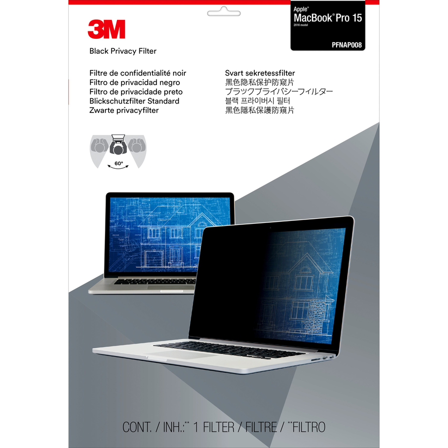 3M Satin Black, Matte Privacy Screen Filter - For 39.1 cm 15.4inch LCD Widescreen MacBook Pro