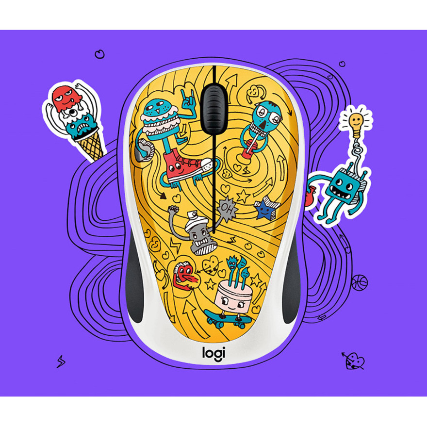 Logitech DOODLE COLLECTION M238 Mouse - Optical - Wireless - 3 Buttons - GoGo Gold