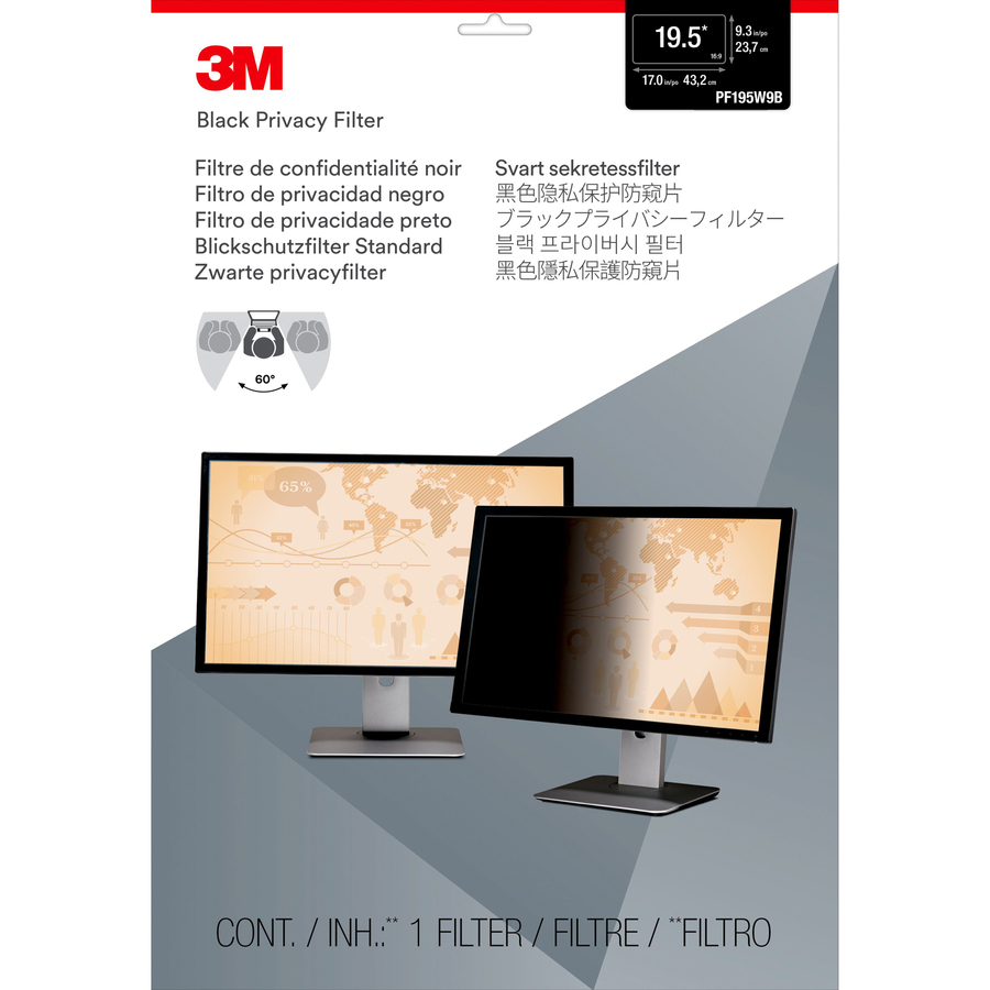 3M Black, Matte Privacy Screen Filter - For 49.5 cm 19.5inch LCD Widescreen Monitor