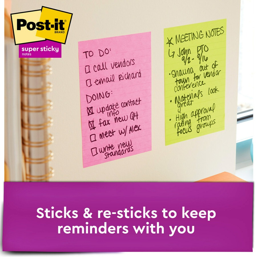 Post It 174 Super Sticky Notes Assorted Sizes Miami Collection