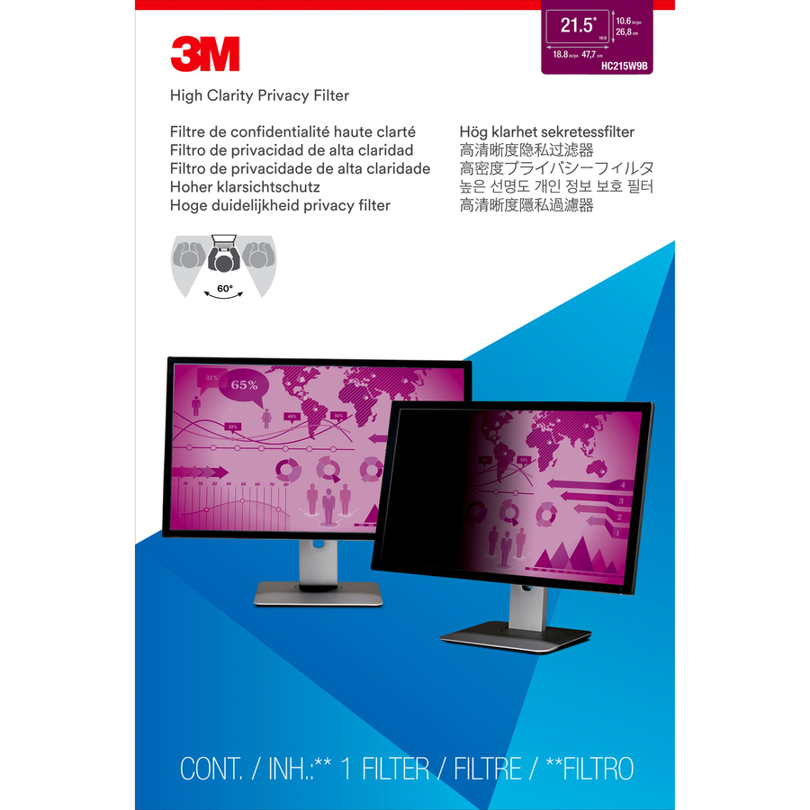 3M Black, Glossy Privacy Screen Filter - For 54.6 cm 21.5inch LCD Widescreen Monitor
