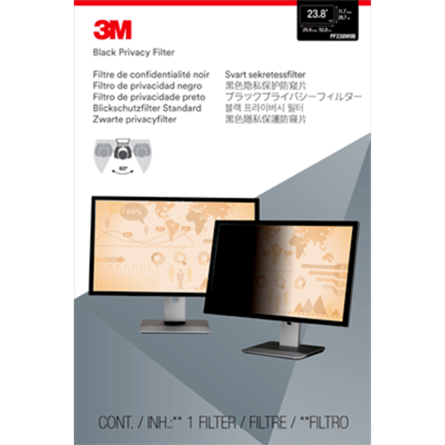 3M Black, Matte Privacy Screen Filter - For 71.1 cm 28inch LCD Widescreen Monitor