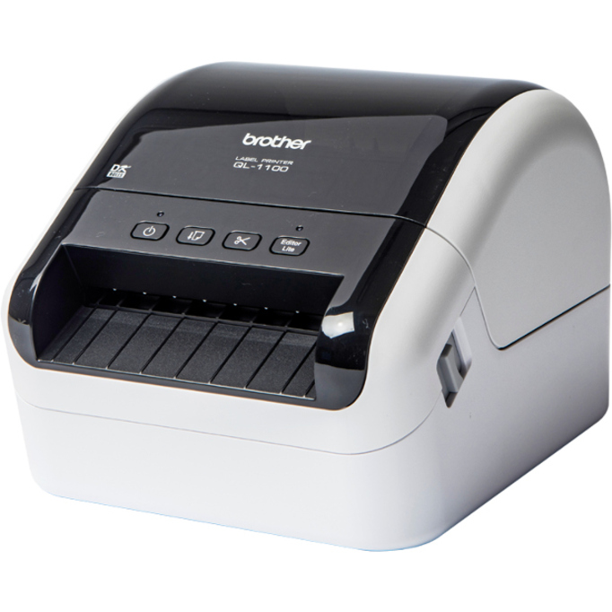 Brother QL-1100 Direct Thermal Printer - Monochrome - Desktop - Label Print - 3 m Print Length - 101.60 mm 4inch Print Width - 110 mm/s Mono - 300 x 300 dpi - USB - L