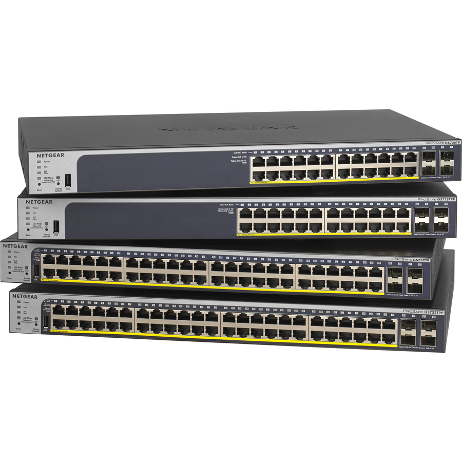 Netgear ProSafe GS752TPv2 48 Ports Manageable Ethernet Switch - 48 x Gigabit Ethernet Network, 4 x Gigabit Ethernet Expansion Slot - Modular - Twisted Pair, Optical