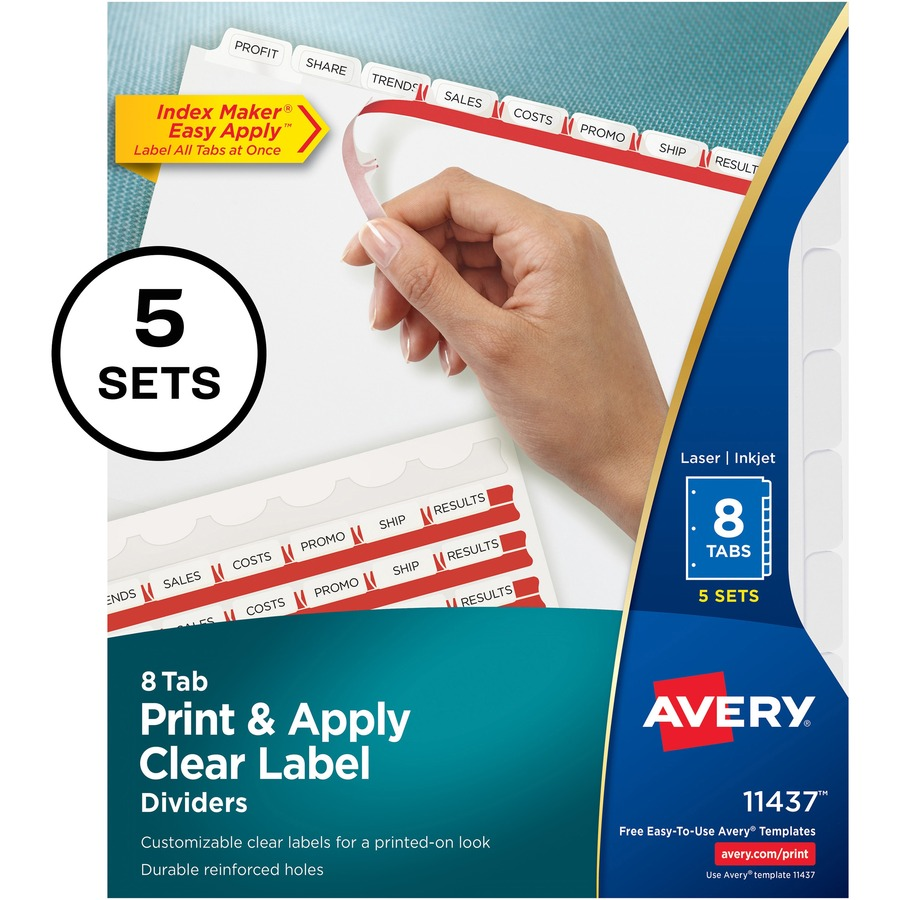 Avery® Index Maker Print & Apply Clear Label Dividers with White Tabs - 8  Tab(s)/Set - 8 5