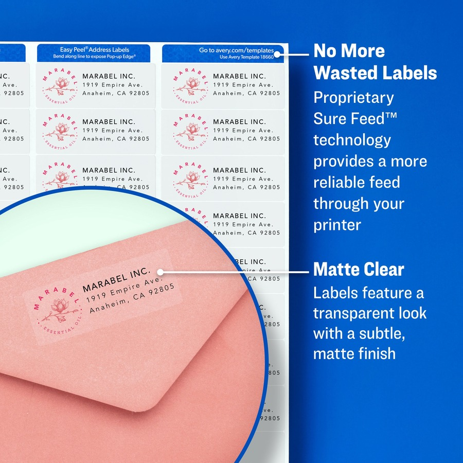 Avery® Matte Clear Easy Peel Shipping Labels - Permanent Adhesive - 2