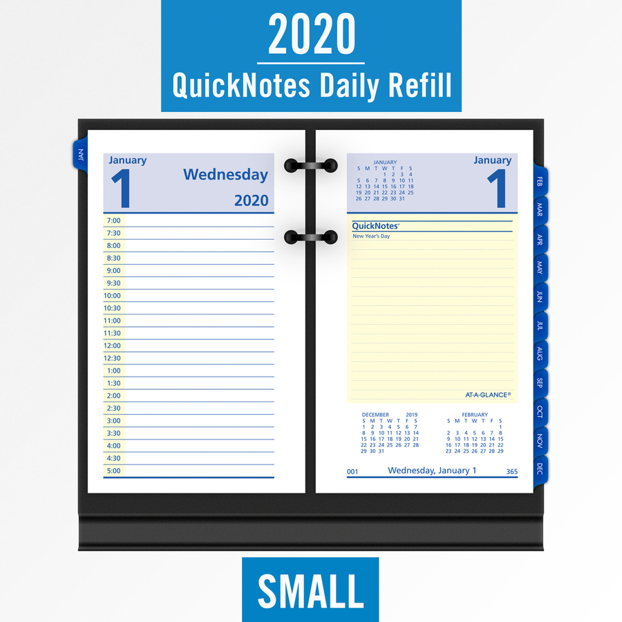 at-a-glance quicknotes daily desk calendar refill - yes - daily