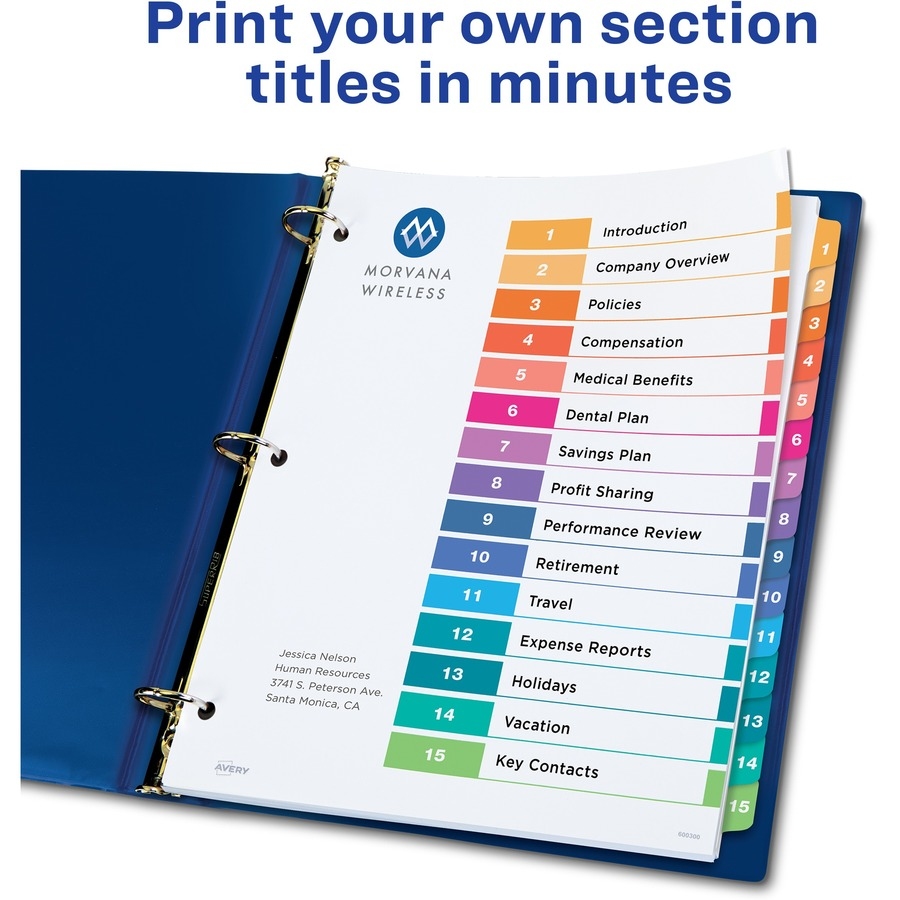 Avery 11197 Avery Ready Index Table Of Contents Reference Dividers