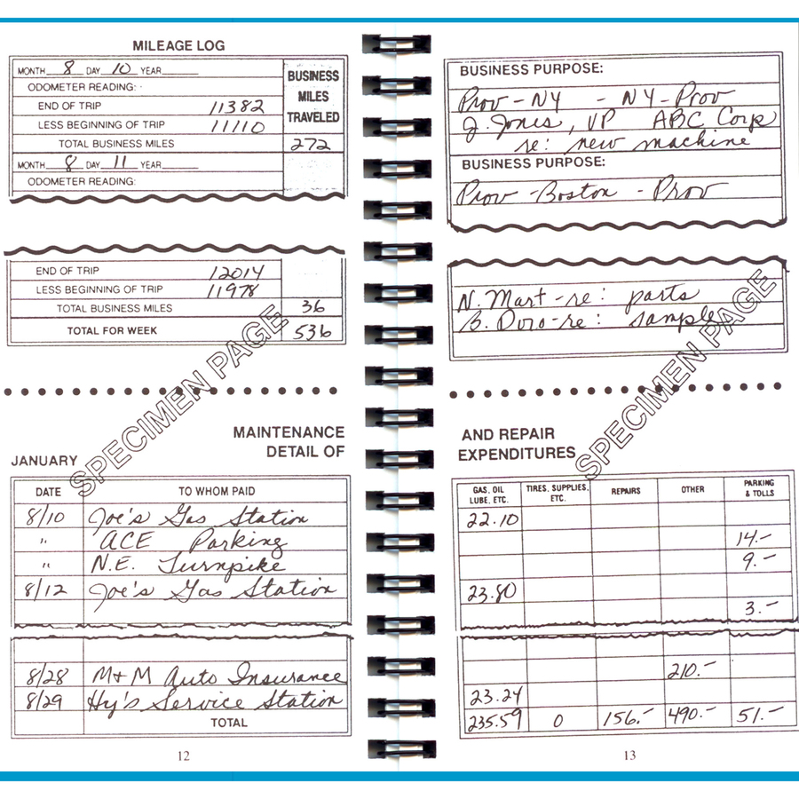Dome Auto Mileage Expense Record Book 160 Sheets Wire Bound Diagram Item