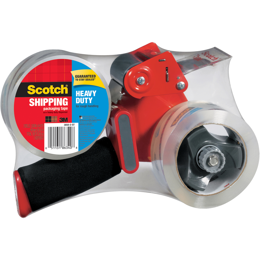Foam Handle Scotch Packaging Tape Dispenser with Heavy Duty Shipping Packaging Tape Designed for Standard 3 Core Rolls 3850-ST Retractable Blade and Adjustable Brake