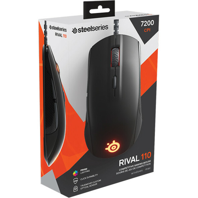 SteelSeries Rival 110 Gaming Mouse - Optical - Cable - 6 Buttons - Matte Black