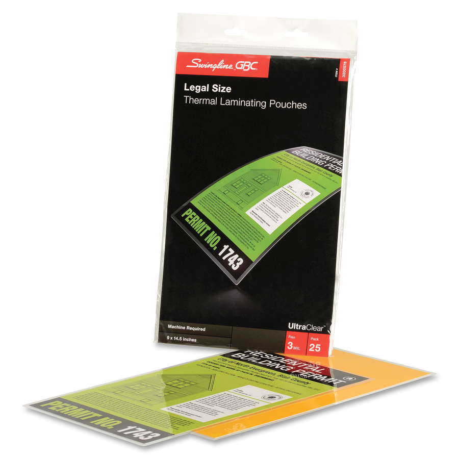 GBC® UltraClear™ Thermal Laminating Pouches - Sheet Size Supported: Legal  8 50
