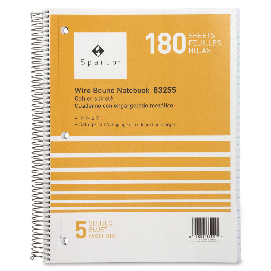 Sparco Wirebound College Ruled Notebooks - 180 Sheets - Wire Bound ...