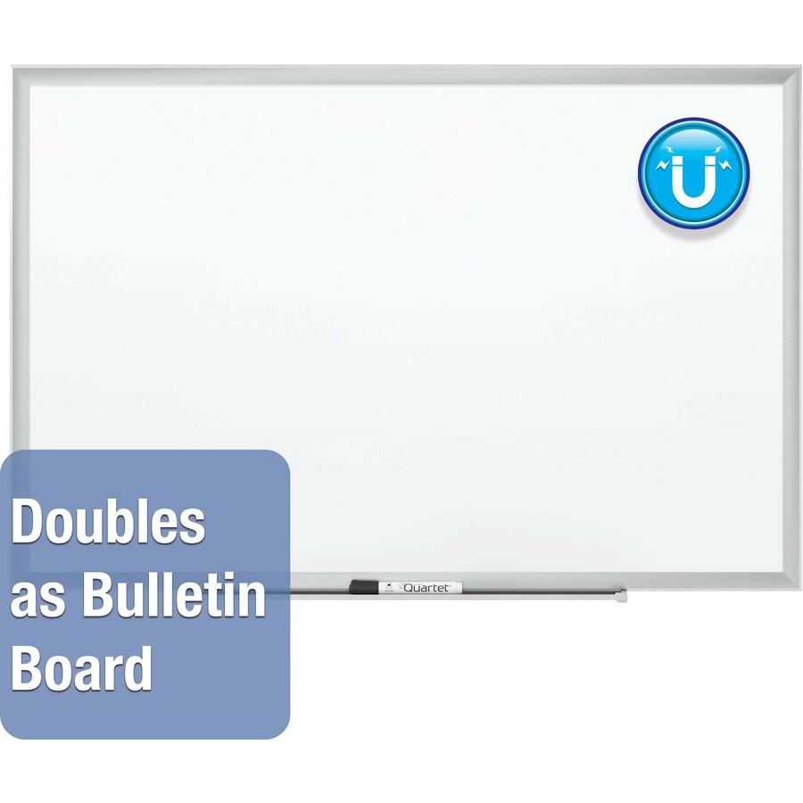 Quartet Premium Duramax Porcelain Magnetic Whiteboard  Silver Aluminum Frame 48 4 Ft Width X 36 3 Ft Height White Porcelain Surface