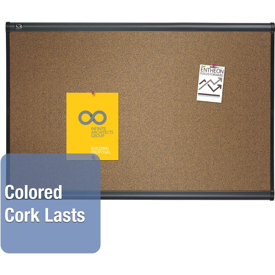 Quartet prestige colored cork bulletin boards qrtb247g for How to make a bulletin board without cork
