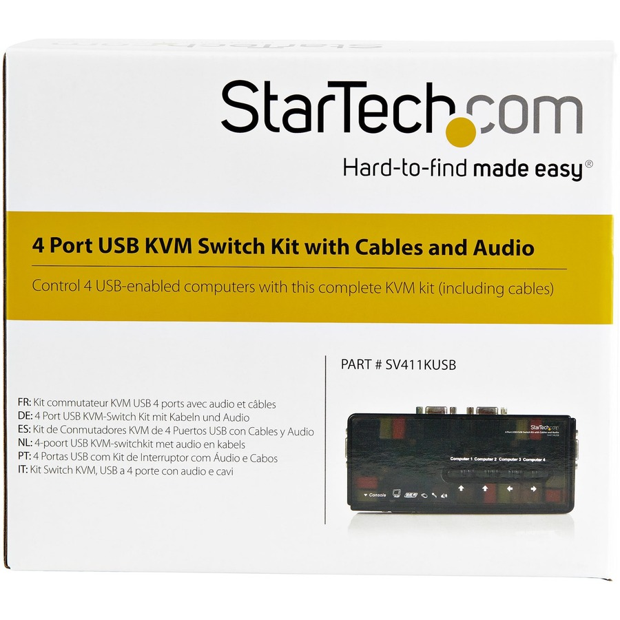 StarTech.com 4 Port Black USB KVM Switch Kit with Cables and Audio - 4 Port