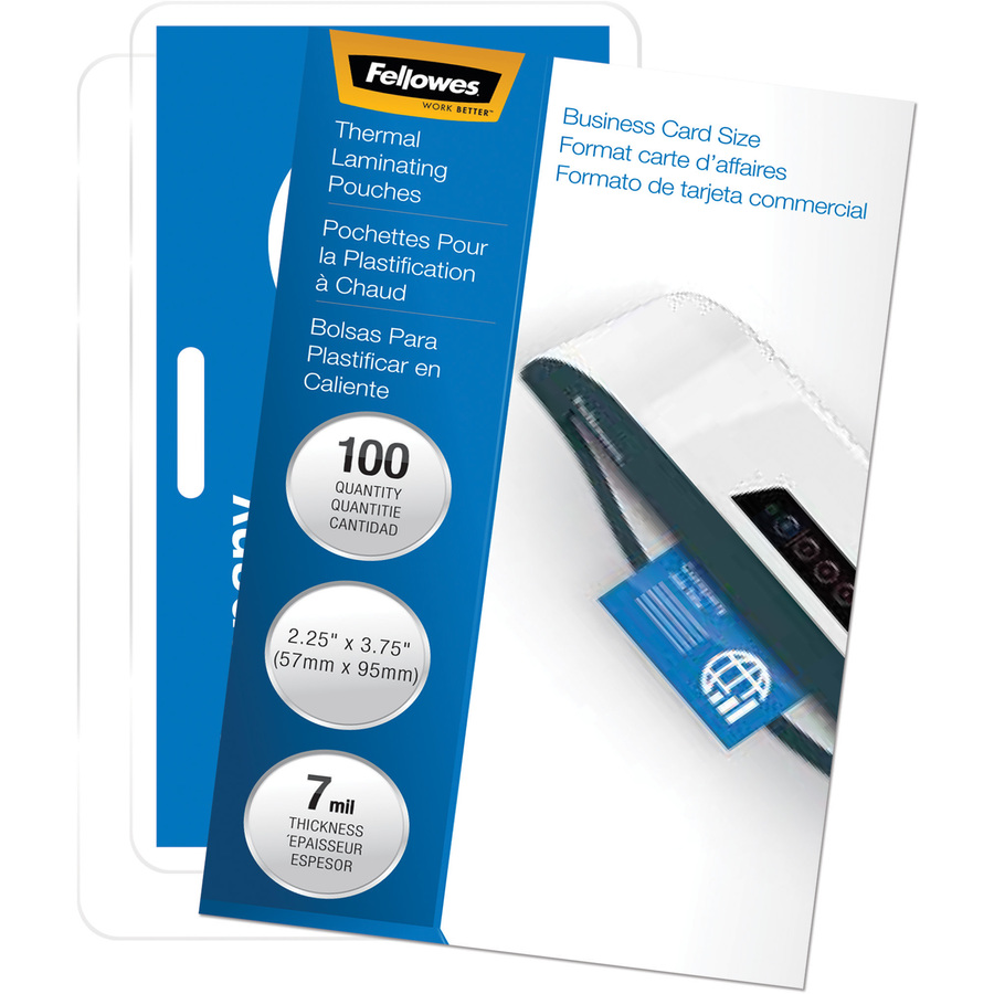 FEL52050 Fellowes Glossy Pouches - ID Tag punched, 7 mil, 100 pack ...
