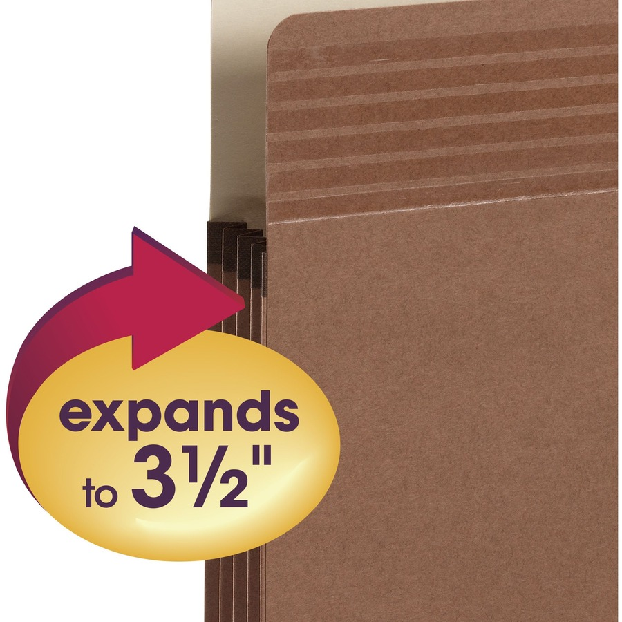 """Smead Easy Grip File Pockets - Letter - 8 1/2"""" x 11"""" Sheet Size - 3 1/2"""" Expansion - Straight Tab Cut - Redrope - Redrope - 3.39 oz - Recycled - 25 /"""