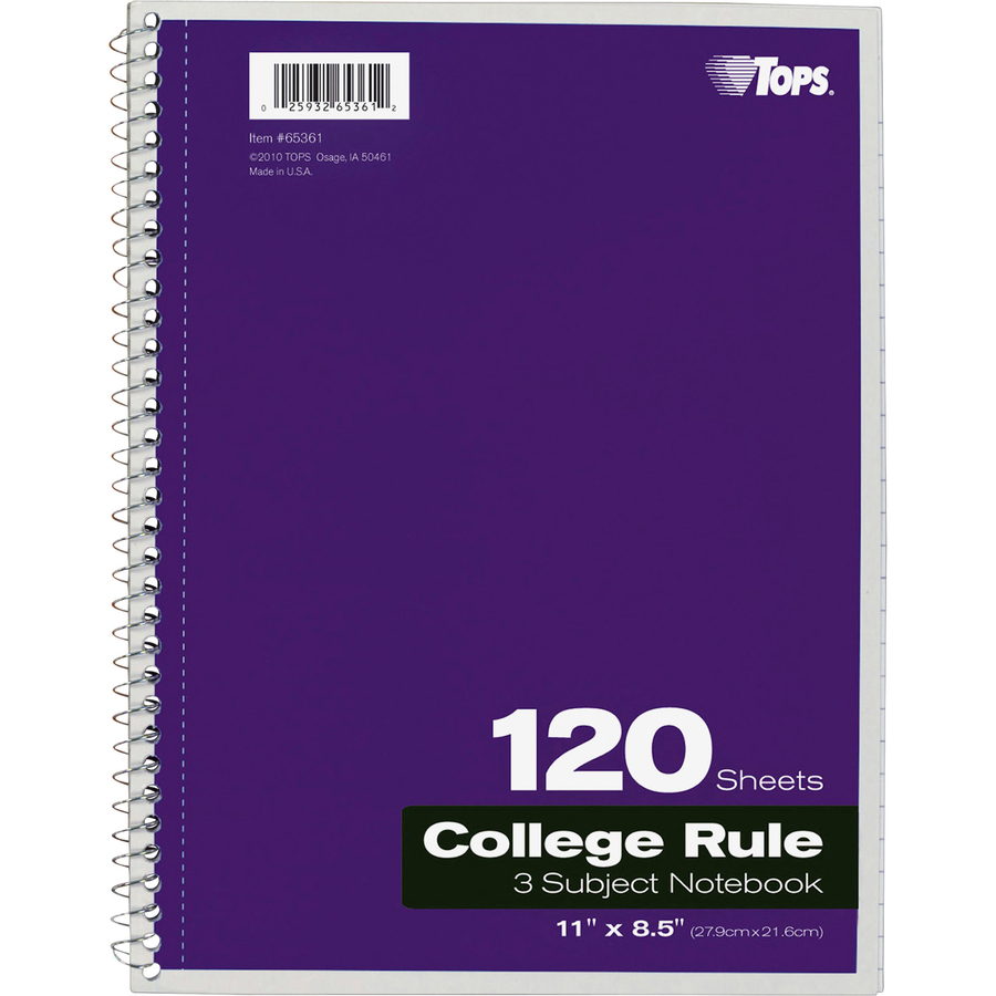 TOPS 3 - subject College Ruled Notebook - Letter - 120 Sheets - Wire Bound  - 8 1/2